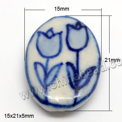 Blue and white porcelain beads, Tulip Flowers, Flat Oval, Approx 15x21x5mm, Hole: Approx 2mm, Sold by PCS