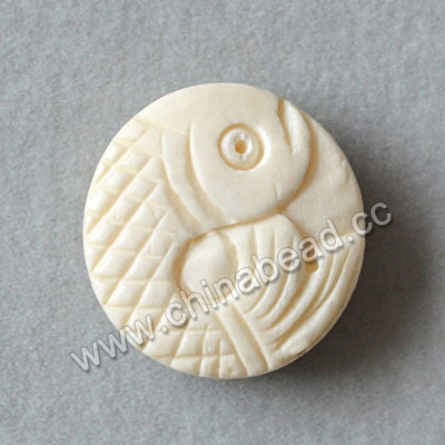 Carved Bone Beads, White, Fish Animal, Disc, Approx 17x6mm, Hole: Approx 2mm, Sold by PCS