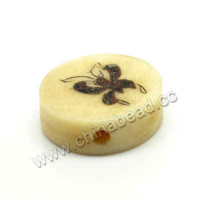 Carved Bone Beads, Ivory, Flower & Butterfly Animal, Disc, Approx 16x6mm, Hole: Approx 2mm, Sold by PCS