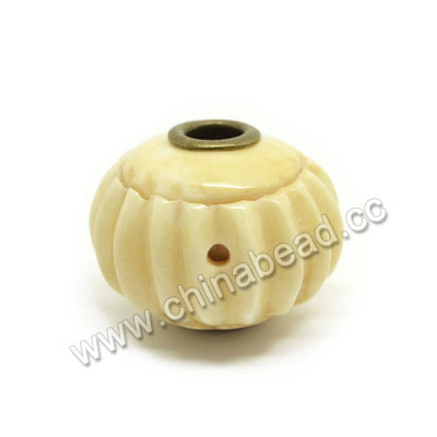 Carved Bone Beads, Ivory, Pumpkin, Large Hole, Rondelle, Approx 23x18mm, Hole:Approx 5mm, Sold by PCS