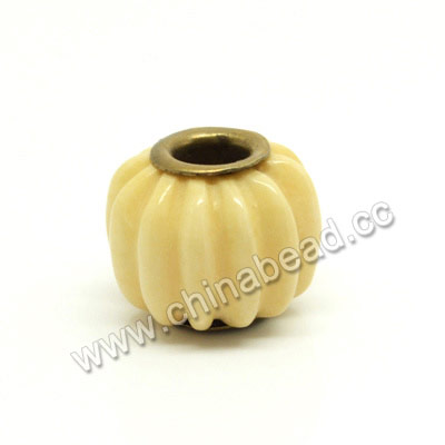 Carved Bone Beads, Ivory, Pumpkin, Large Hole, Rondelle, Approx 15x11mm, Hole:Approx 5mm, Sold by PCS