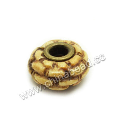 Carved Bone Beads, Antique, Large hole, Rondelle, Approx 18x8mm, Hole:Approx 5mm, Sold by PCS