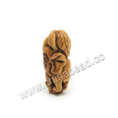 Carved Bone Beads, Antique, Elephant Animal, Tube, Approx 30x15x12mm, Hole:Approx 3mm, Sold by PCS