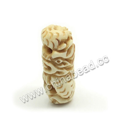 Carved Bone Beads, Antique, Dragon Animal, Tube, Approx 30x15x12mm, Hole:Approx 3mm, Sold by PCS