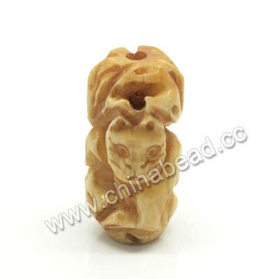 Carved Bone Beads, Antique, Cat, Animal, Tube, Approx 30x15x15mm, Hole:Approx 3mm, Sold by PCS