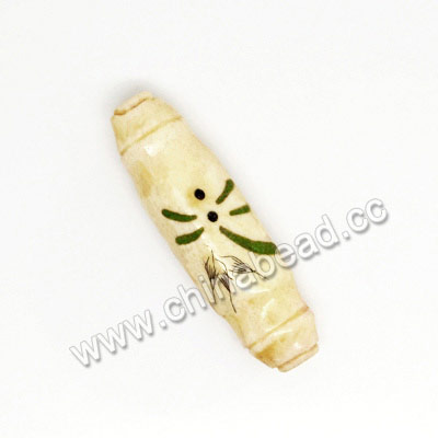 Carved Bone Beads, Ivory, Dragonfly Animal Scrimshaw, Tube, Approx 41x12x8mm, Hole:Approx 2mm, Sold by PCS