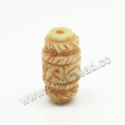Carved Bone Beads, Ivory, Tube, Approx 10x20mm, Hole:Approx 2mm, Sold by PCS