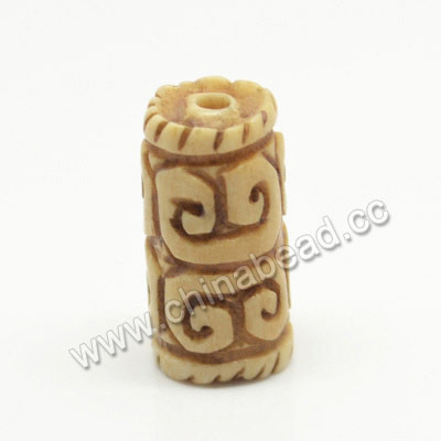 Carved Bone Beads, Antique, Sprial, Tube, Approx 10x20mm, Hole:Approx 2mm, Sold by PCS
