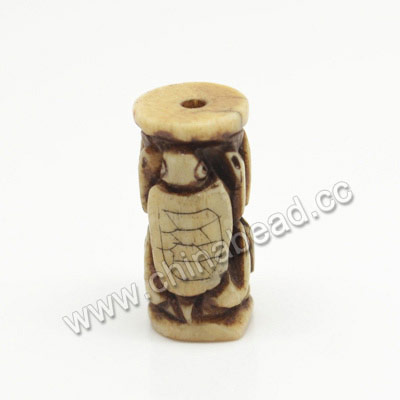 Carved Bone Beads, Antique, Turtle/tortoise Animal, Tube, Approx 10x20mm, Hole:Approx 2mm, Sold by PCS