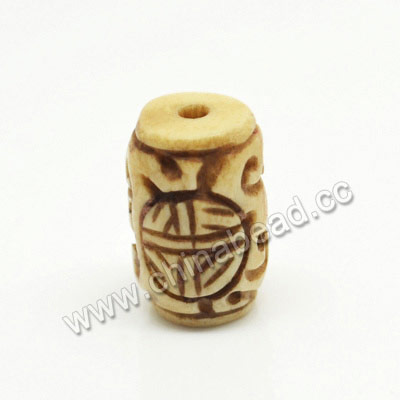 Carved Bone Beads, Antique, Double Happiness Chinese Symbol, Tube, Approx 10x15mm, Hole:Approx 2mm, Sold by PCS