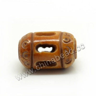 Carved Bone Beads, Brown, Tube, Approx 7x11mm, Hole:Approx 2mm, Sold by PCS