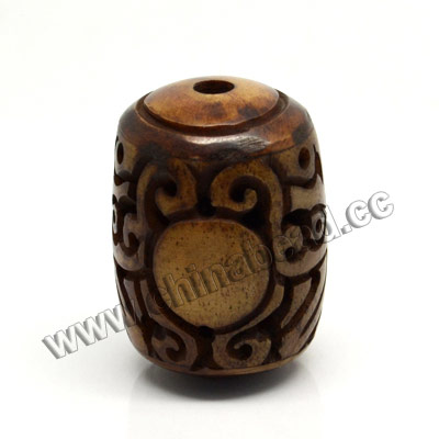 Carved Bone Pendants, Brown, Dragon Animal, Drum/Barrel, Approx 22x27mm, Hole:Approx 2mm, Sold by PCS
