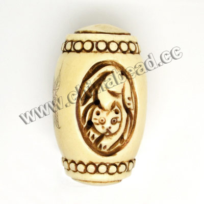 Carved Bone Pendants, Antique, Flower & Cat Animal Scrimshaw, Drum/Barrel, Approx 30x50mm, Hole: Approx 2mm, Sold by PCS