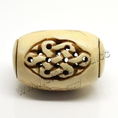 Carved Bone Pendants, Antique, Flower & Chinese Knot Scrimshaw, Drum/Barrel, Approx 25x40mm, Hole: Approx 2mm, Sold by PCS