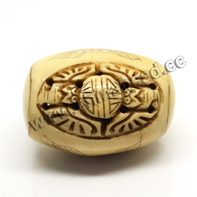 Carved Bone Pendants, Antique, Flower, Birds Animal & Longevity Chinese Symbol Scrimshaw, Drum/Barrel, Approx 28x40mm, Hole: Approx 2mm, Sold by PCS