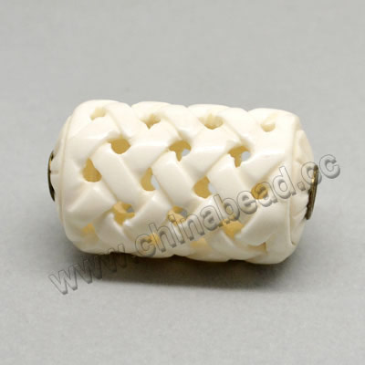 Carved Bone Pendants, White, Large Hole, Chinese Weave, Drum/Barrel, Approx 25x42mm, Hole: Approx 2mm, Sold by PCS