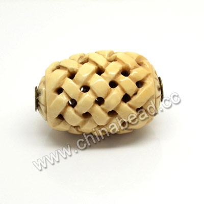 Carved Bone Pendants, Antique, Large Hole, Chinese Weave, Drum/Barrel, Approx 28x43mm, Hole: Approx 5mm, Sold by PCS