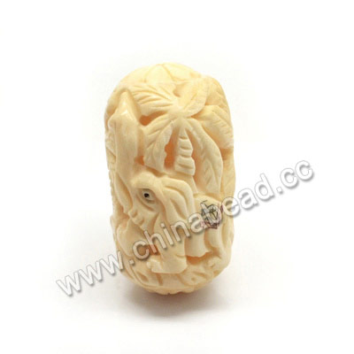 Carved Bone Beads, Ivory, Coconut Palm & Elephant Animal, Drum/Barrel, Approx 56x33x30mm, Hole: Approx 2mm, Sold by PCS