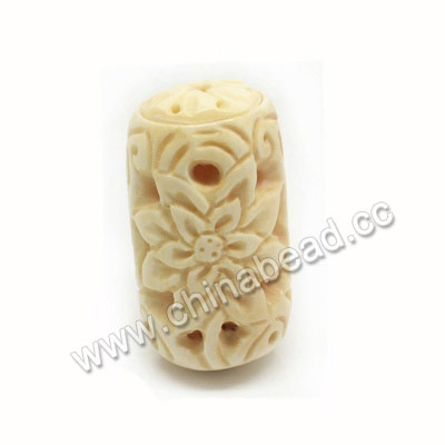 Carved Bone Beads, Ivory, Flower, Drum/Barrel, Approx 24x45mm, Hole: Approx 2mm, Sold by PCS