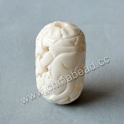 Carved Bone Beads, White, Chinese Weave & Cat Animal, Drum/Barrel, Approx 25x41mm, Hole: Approx 5mm, Sold by PCS