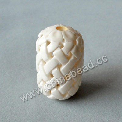 Carved Bone Beads, White, Chinese Weave, Drum/Barrel, Approx 25x41mm, Hole: Approx 5mm, Sold by PCS