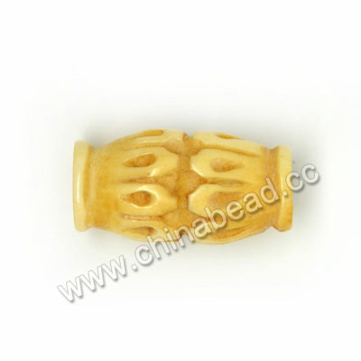 Carved Bone Beads, Ivory, Flower Petal, Drum/Barrel, Approx 8x16mm, Hole: Approx 2mm, Sold by PCS
