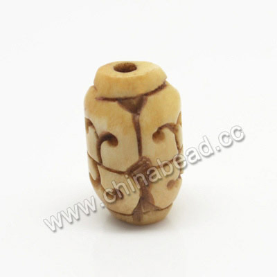 Carved Bone Beads, Antique, Sprial, Drum/Barrel, Approx 9x15mm, Hole: Approx 2mm, Sold by PCS