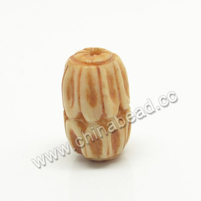 Carved Bone Beads, Antique, Leaves, Drum/Barrel, Approx 9x16mm, Hole: Approx 2mm, Sold by PCS
