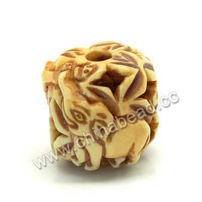 Carved Bone Beads, Antique, Flower & Elephant Animal, Drum/Barrel, Approx 17x17mm, Hole: Approx 4mm, Sold by PCS