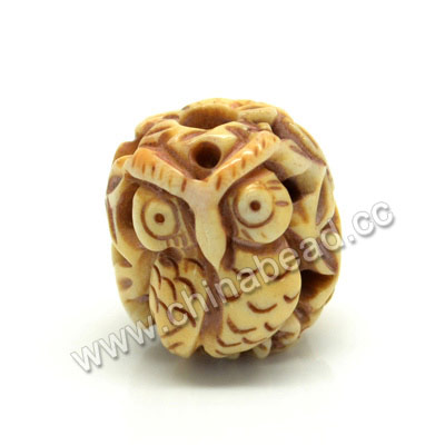 Carved Bone Beads, Antique, Flower & Owl Animal, Drum/Barrel, Approx 16x17mm, Hole: Approx 4mm, Sold by PCS