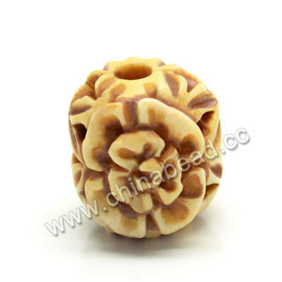 Carved Bone Beads, Antique, Flower, Drum/Barrel, Approx 17x16x17mm, Hole: Approx 4mm, Sold by PCS