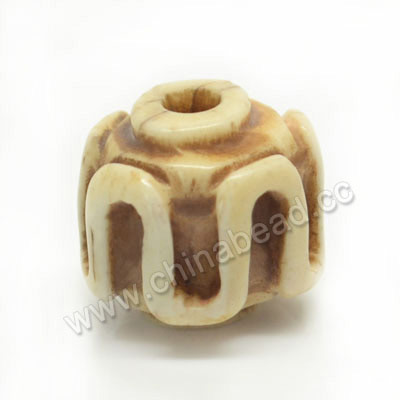 Carved Bone Beads, Antique, Drum/Barrel, Approx 10x9mm, Hole: Approx 2mm, Sold by PCS