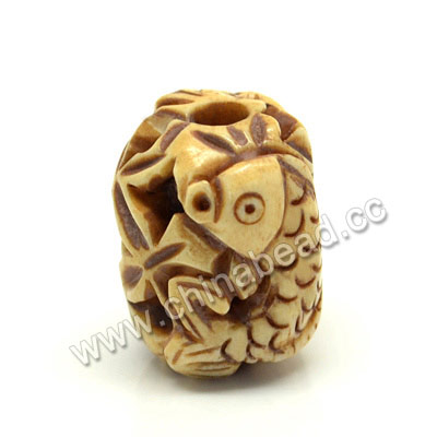 Carved Bone Beads, Antique, Flower & Fish Animal, Drum/Barrel, Approx 15x14x17mm, Hole: Approx 4mm, Sold by PCS