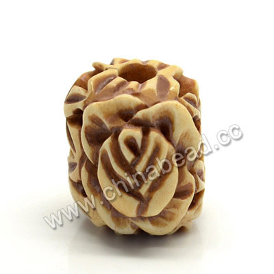 Carved Bone Beads, Antique, Rose Flower & Leaves, Drum/Barrel, Approx 17x16x17mm, Hole: Approx 4mm, Sold by PCS