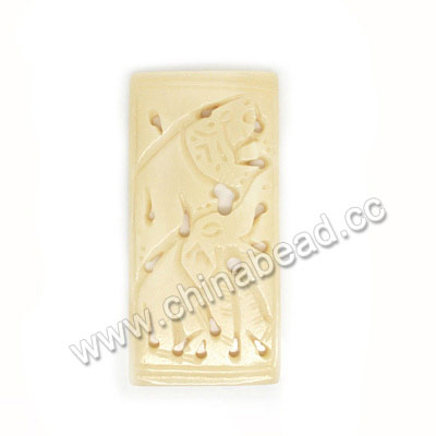 Carved Bone Pendants, Ivory, Elephant Animal, Rectangle, Approx 65x32x5mm, Hole:Approx 3mm, Sold by PCS