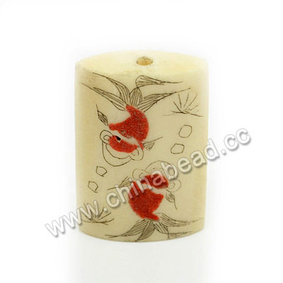 Carved Bone Beads, Ivory, Flower & Goldfish Animal Scrimshaw, Rectangle, Approx 30x21x7mm, Hole:Approx 3mm, Sold by PCS