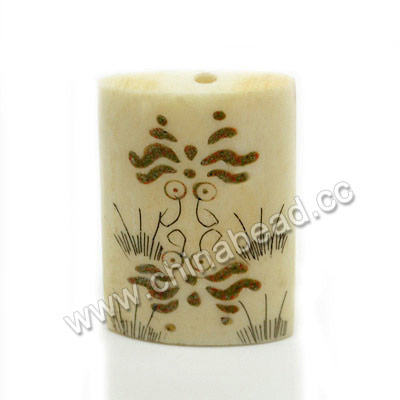 Carved Bone Beads, Ivory, Flower & Butterfly Animal Scrimshaw, Rectangle, Approx 32x21x7mm, Hole:Approx 3mm, Sold by PCS
