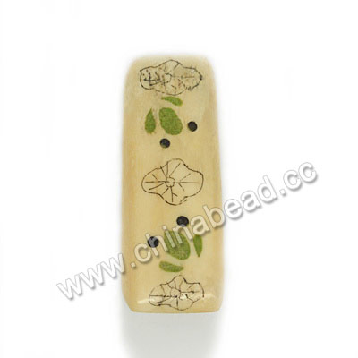 Carved Bone Beads, Ivory, Frog & Lotus Leaf Animal Scrimshaw, Rectangle, Approx 41x16x10mm, Hole:Approx 3mm, Sold by PCS