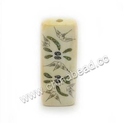 Carved Bone Beads, Ivory, Flower & Dragonfly Animal Scrimshaw, Rectangle, Approx 41x16x8mm, Hole:Approx 3mm, Sold by PCS