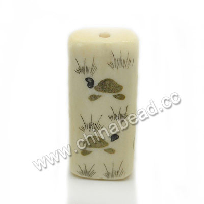 Carved Bone Beads, Ivory, Flower & Turtle/tortoise Animal Scrimshaw, Rectangle, Approx 41x16x9mm, Hole:Approx 3mm, Sold by PCS