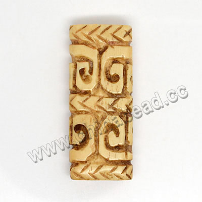 Carved Bone Beads, Antique, Rectangle, Approx 35x15x7mm, Hole:Approx 2mm, Sold by PCS