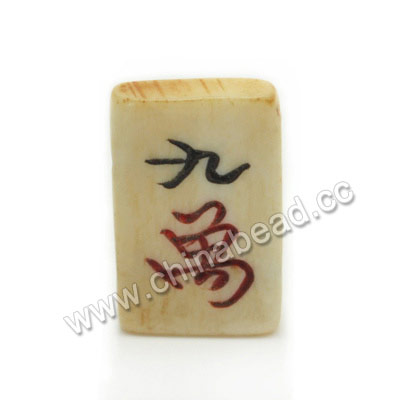 Carved Bone Beads, Ivory, Mahjong, Nine Characters, Rectangle, Approx 21x13x4mm, Double Hole:Approx 2mm, Sold by PCS