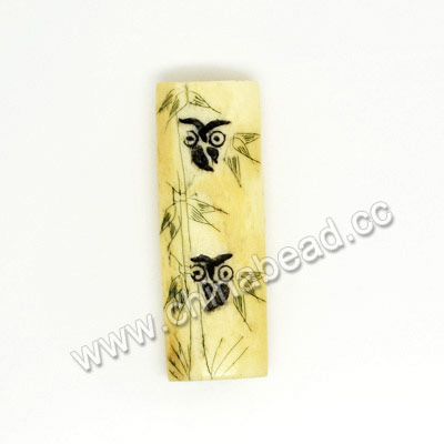 Carved Bone Beads, Ivory, Bamboo & Owl Animal Scrimshaw, Rectangle, Approx 40x14x8mm, Hole:Approx 2mm, Sold by PCS