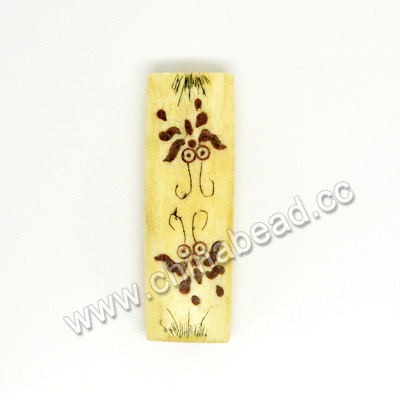 Carved Bone Beads, Ivory, Flower & Butterfly Animal Scrimshaw, Rectangle, Approx 40x14x7mm, Hole:Approx 2mm, Sold by PCS