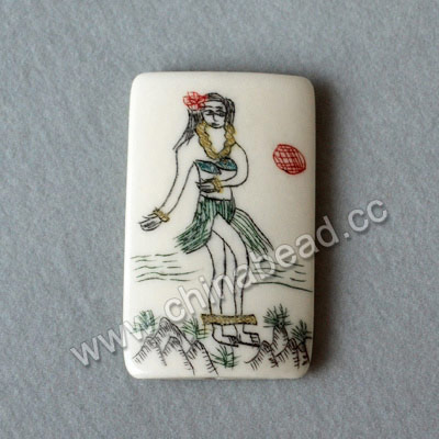 Carved Bone Pendants, White, Hawaii Girl Scrimshaw, Rectangle, Approx 40x25x5mm, Hole:Approx 2mm, Sold by PCS