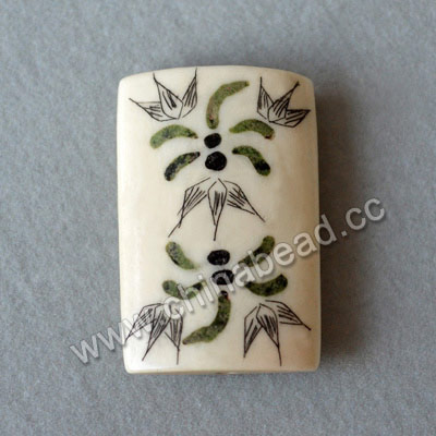 Carved Bone Pendants, White, Dragonfly Animal & Flower Scrimshaw, Rectangle, Approx 31x20x7mm, Hole:Approx 2mm, Sold by PCS