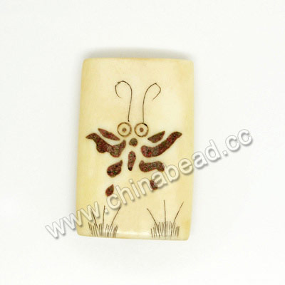 Carved Bone Pendent, Ivory, Butterfly Animal Scrimshaw, Rectangle, Approx 30x20x6mm, Hole:Approx 2mm, Sold by PCS