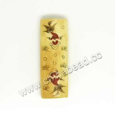 Carved Bone Beads, Ivory, Goldfish Animal Scrimshaw, Rectangle, Approx 40x14x8mm, Hole:Approx 2mm, Sold by PCS