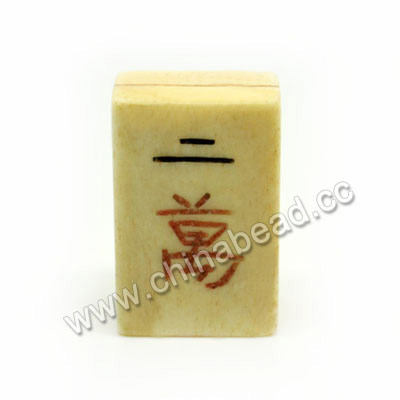 Carved Bone Beads, Ivory, Mahjong, Two Chinese Symbol, Rectangle, Approx 28x18x9mm, Double Hole:Approx 2mm, Sold by PCS