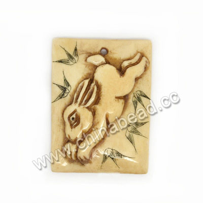 Carved Bone Pendants, Antique, Running Rabbit Animal Scrimshaw, Rectangle, Approx 40x30x7mm, Hole:Approx 2mm, Sold by PCS